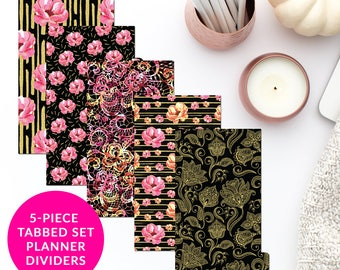 Pink Black Gold 5-Piece Tabbed Set of Planner Dividers for Personal A5 Planner Dashboard