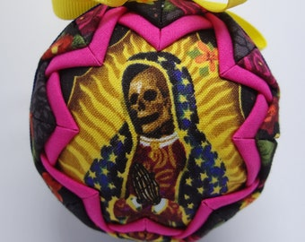 Quilted Fabric Ornament Dia de los Muertos Day of the Dead Lady of Guadalupe
