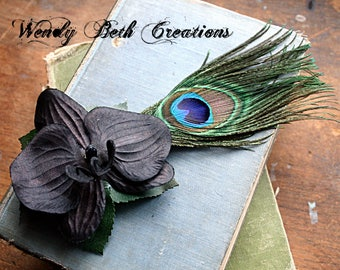 Simple Black Orchid Hair Fascinator Clip - Tribal Belly Dance, Pin Up, Cosplay, Boho, Fairy - Ready to Ship - LAST ONE