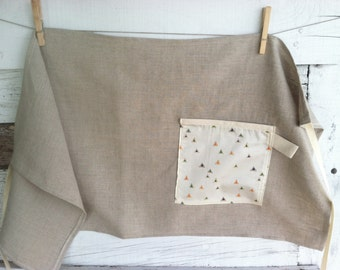MOTHER'S DAY GIFTS, Linen Half Apron with Single Pocket - Natural with Peppered Triangles