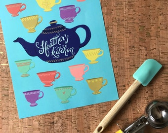 Foodie Gift | Tea Lover | Hostess Gift | Wall Art | Food & Kitchen | Tea Time | CUSTOM LETTERING Teacups and Teapot Unframed 8x10 Print
