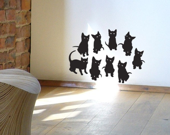 Cute kitten pussy cat wall stickers (9), wall decals
