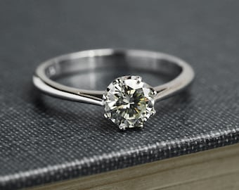 Moissanite Engagement Ring - Solitaire Engagement Ring - Moissanite Engagement Ring -18 ct White Gold - Hand Made to Order