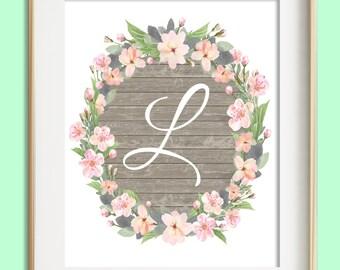 Letter L Printable, Instant Download, Baby Girl Nursery Wall Art, Girl Nursery Decor, Floral Monogram, Pink Mint Gray Letter Art, Baby Gift