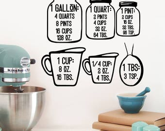 Measuring cups with conversions vinyl decal/sticker - home decor - kitchen decor - baking and cooking tool - Vinyl decal - On Sale!