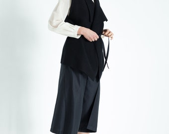 Black diaper trousers made of organic cotton, black Culotte, Culotte sustainable, fair Wickelculotte, elegant plain trousers, fine summer trousers