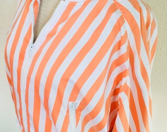 Vintage Orange & White Striped Jacket