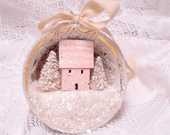 Shabby Chic Coral Tea Cup Ornament Putz House