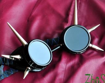 Black Cyber Goth Goggles Glasses 8 Nickel Spikes CyberPunk Industrial Noise Dark Wave Dark