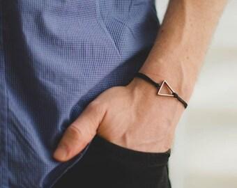 Triangle cord bracelet, men's bracelet, silver triangle charm, black cords, bracelet for men, gift for him, geometric bracelet, mens jewelry