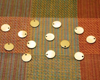 925 Sterling Silver Gold Filled Disc Charm, 9 mm - 1.3 mm Hole, Disc Blank Tags
