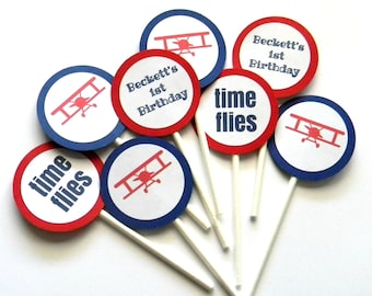 12 Airplane Time Flies Cupcake Toppers, First Birthday, Airplane Theme, Airplane Birthday, Baby Shower, Airplane Toppers, Time Flies Theme