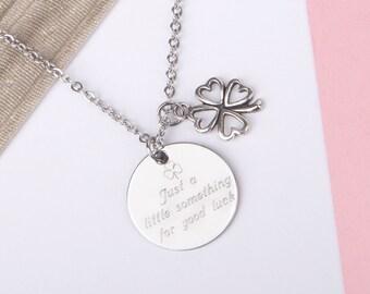 Clover necklace, good luck necklace,  good luck gift, lucky charm, good luck charm, good luck jewelry, engraved necklace, shamrock