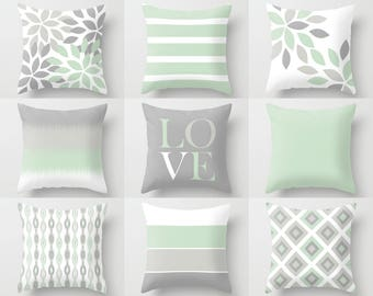 Throw Pillow Covers, Grey White Green, Home Decor, Mix and Match, Accent Pillows, Love, Ikat, Floral Cushion Covers