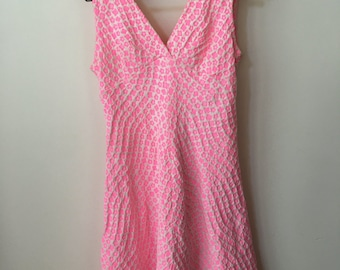 vintage 60s bright pink & white fitted Mad Men  dress