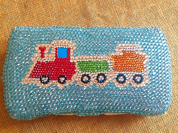Rhinestone Baby Wipe Case- Train