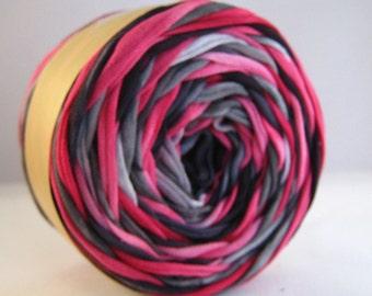 T Shirt Yarn, Hand Dyed, Black/Pink/Gray, 60 Yards, T Shirt Yarn, T-Shirt Yarn