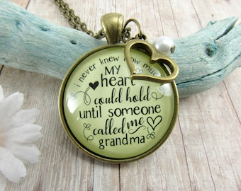 New Grandma Necklace Keychain I Never Knew How Much My Heart Could Hold Vintage Style Grandmother Jewelry Gift Pendant Mother's Day Mom Gift
