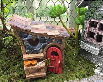 SALE Mini Garden Shed, Shingletown Fairy Garden Shed, Miniature Gardening Accessory, Garden Decor