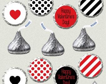 Valentine Kisses, Valentine Hershey Kiss Labels, Printable Kisses, Kiss Labels, Kiss Stickers, DIY Kisses, Happy Valentines day kiss labels