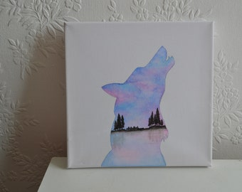 Wolf Silhouette Watercolour Painting