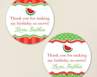 Red Watermelon Birthday Party Favor Stickers - Sheet of 12 or 24