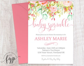 Baby Sprinkle Invitation Girl, Floral Baby Shower Invitation, Girls Baby Shower Invite, Baby Sprinkle Invite, Watercolor Baby Shower Invite