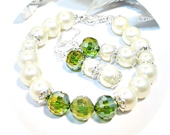 Bracelet, Earrings, Green Jewelry, Bridesmaid Jewelry, Clover, Pearl Jewelry, Bridal Accessories, Summer Wedding, Jewelry Set, Bridal Party