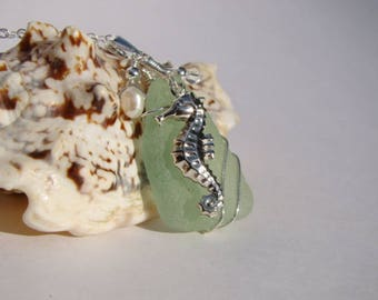 Seahorse Necklace - Seafoam Sea Glass Pendant Necklace - Sterling Silver Wire Wrapped