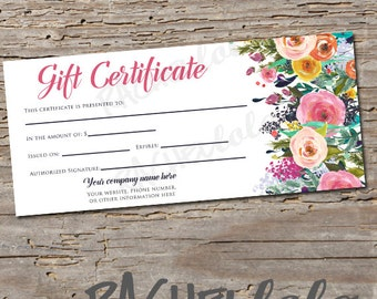 Custom, Watercolor Floral Gift Certificate, Printable template, Spring, Summer, Direct sales, Photography voucher, Digital download, Salon