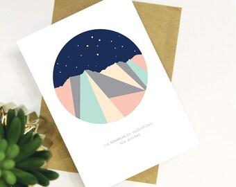 The Remarkables Mountain Range Night Sky, Southern Cross, Queenstown, New Zealand. Modern Geometric Mountain Design Card