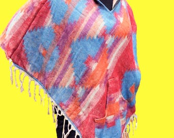 Sunset Navajo print hooded Poncho w/ pockets - One Size/wool blend