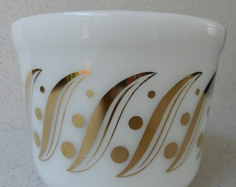 Vintage White Glass Bowl with Gold Dots and Swirls, Serving Bowl, Mixing Bowl, Milk Glass, Kitchen, Decor