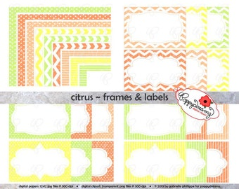 Citrus Frames & Labels: Clip Art Pack Card Making Digital Frames Page Borders Chevron Dots Stripes