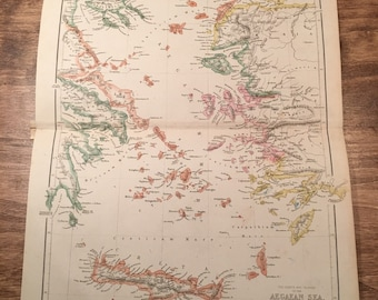 1858 Colored Aegean Sea Map Engraving from Long's Classical Atlas