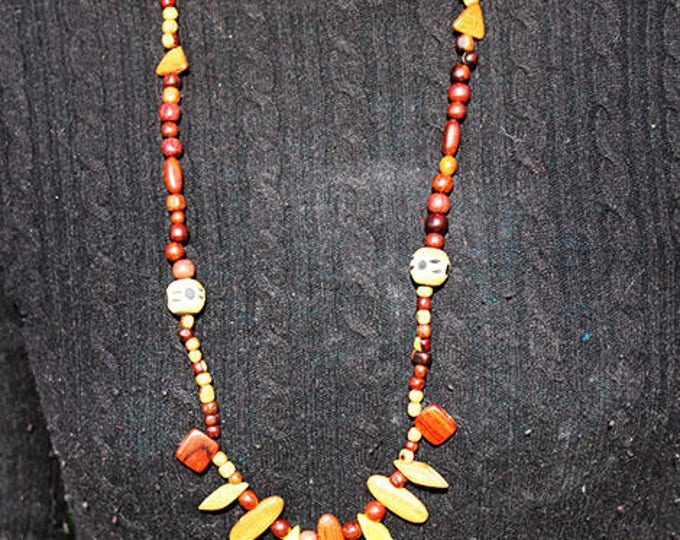 Beaded long necklace of natural wood from French Guiana, wooden beads black and white, ivory, Brown, yellow, and chocolate gift for her