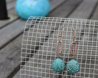 Beach Earrings - Boho Jewelry - Free Shipping - Rustic Beach Earrings - Copper earrings - Rustic Boho earrings - beach style
