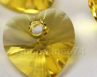 Swarovski Crystal 6228 Faceted Xilion Heart Pendant LIGHT TOPAZ - Available in 10mm and 14mm