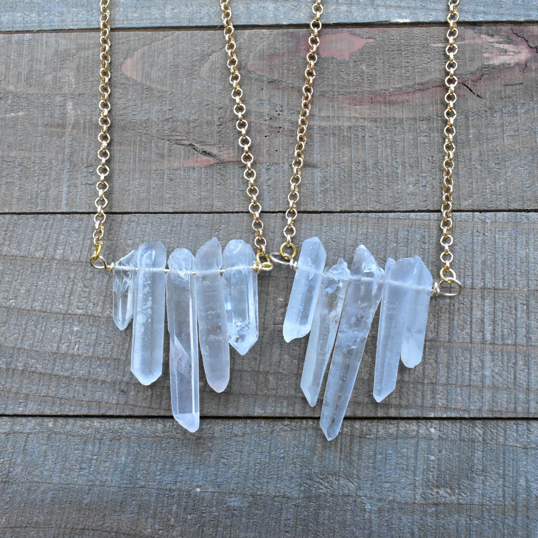 Fünf Stein rau Bergkristall Halskette / Bergkristall Draht