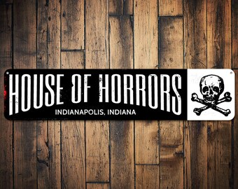 House Of Horrors Sign, Personalized City State Skull & Crossbones Sign, Custom Halloween Sign, Halloween Decor - Quality Aluminum ENS1001463
