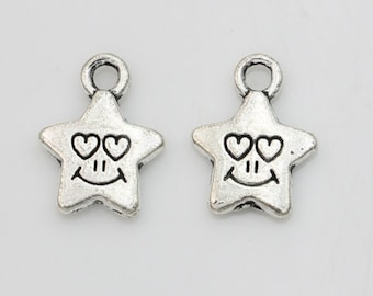 set of 3 star eyes smile smile silver plated (18) heart charms