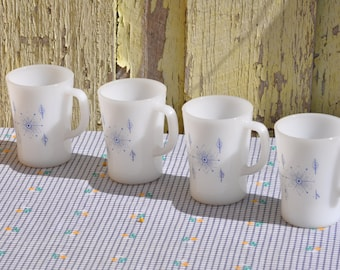 Iconic Pyrex Milk Glass Coffee Cups Set of Four