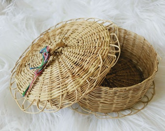 Covered Wicker Basket