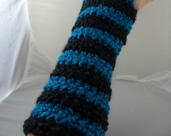 Black and Aqua Striped Crocheted Arm Warmers (size M-L) (SWG-AW-MH15)
