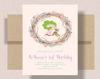 WOODLAND BIRTHDAY INVITATION For Girl Pink Floral | Little Deer Girls Birthday Invitation | 2nd Second Birthday Invitation Boho Shabby Chic