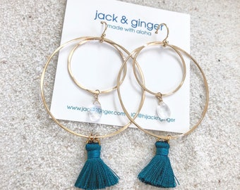 Moonstone & Teal Tassel Double Hoops