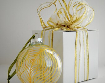 Gold Peacock Feather Glass Ornament - Large Hand Painted Christmas Ornament