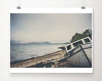 white boat photograph Scotland photograph scottish loch photograph landscape photograph travel photograph nautical decor