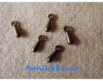 Set of 10 small charms drops 7 x 3 mm bronze metal