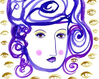 A World of Dreams-Eyes, Eye Art, Purple and gold, Surrealism, Surrealistic Art, Voyeurism, Voyeuristic